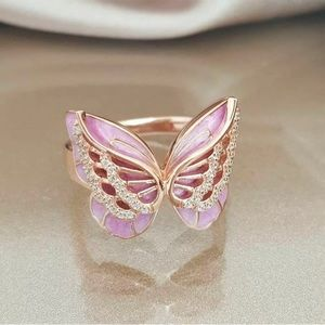 Butterfly shaped 18K gold filled rhinestone ring